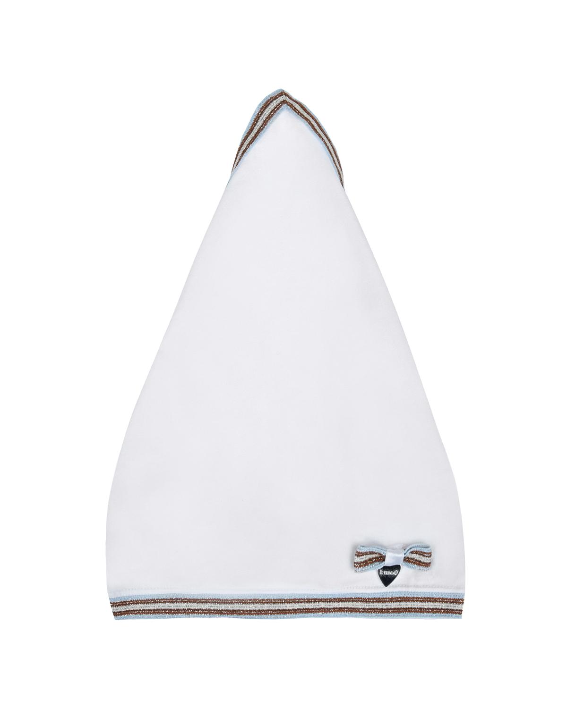 Купить Белая косынка с отделкой в полоску Il Trenino детская, Нет цвета, 95%хлопок+5%эластан