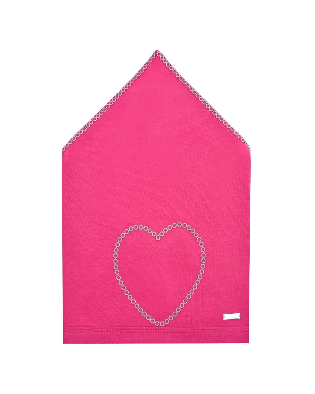 Купить Косынка цвета фуксии с декором сердце Il Trenino детская, Нет цвета, 95%хлопок+5%эластан