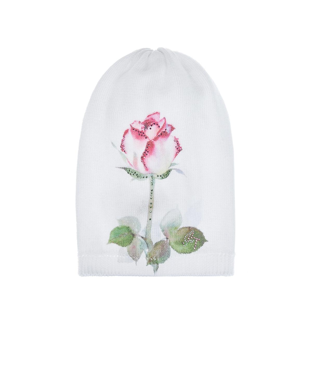 """Белая шапка с принтом """"роза"""" Il Trenino детская, Нет цвета, 100%хлопок  - купить со скидкой"""