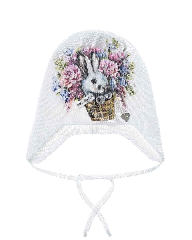 """Белая шапка с принтом """"заяц в корзине"""" Il Trenino детская, Нет цвета, 100%хлопок  - купить со скидкой"""