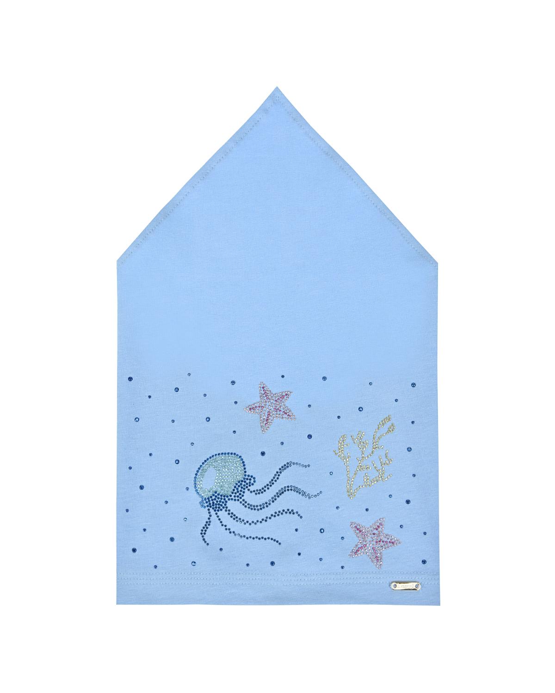 Купить Голубая косынка с морским декором Il Trenino детская, Нет цвета, 95%хлопок+5%эластан