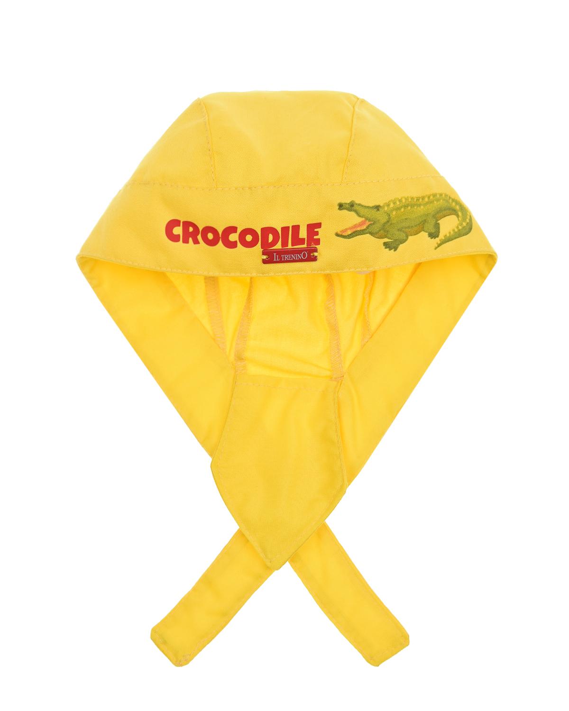 Купить Желтая бандана с принтом Крокодил Il Trenino детская, Нет цвета, 100%хлопок