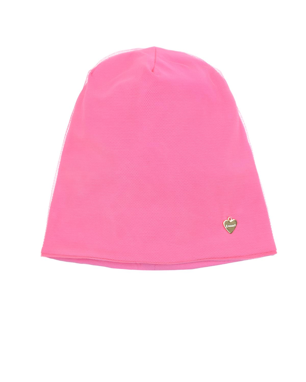 Купить Розовая шапка с декоративной сеткой Il Trenino детская, Нет цвета, 95%хлопок+5%эластан