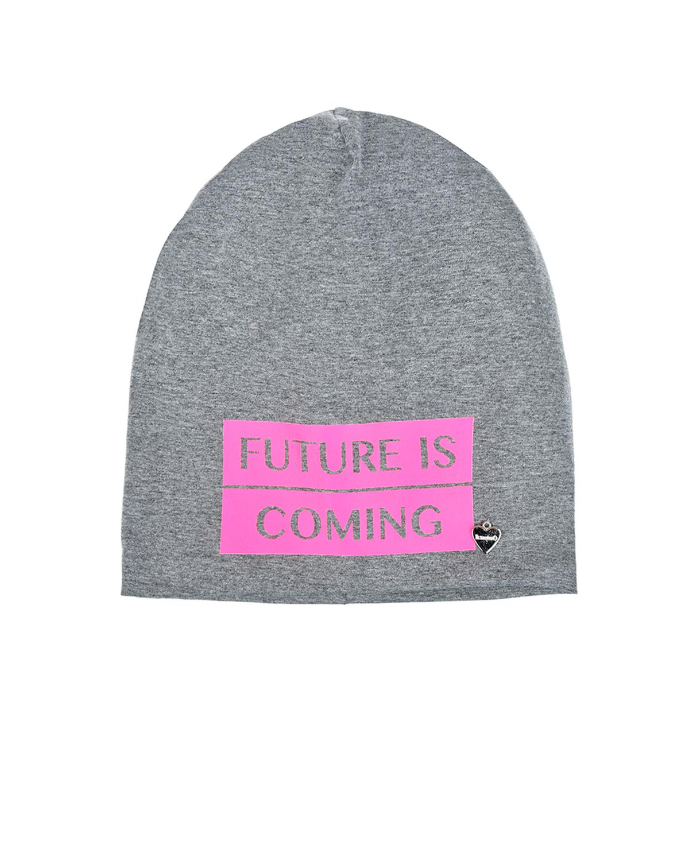 Купить Трикотажная шапка с надписью Future is coming Il Trenino детская, Нет цвета, 95%хлопок+5%эластан