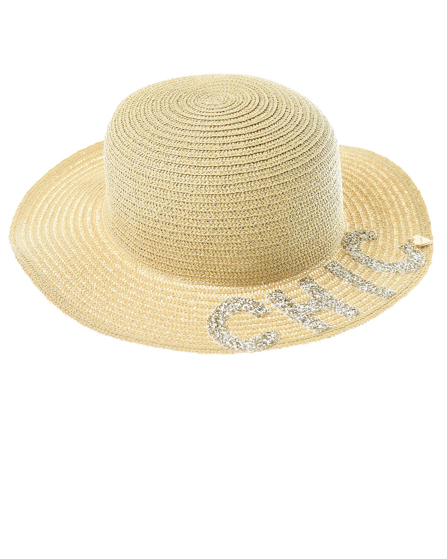 Купить Бежевая шляпа с надписью CHIС Il Trenino детская, Нет цвета, 100%текстильная бумага