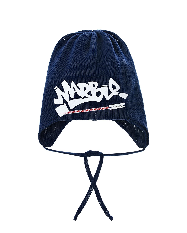 Купить Темно-синяя шапка с принтом MARBLE Il Trenino детское, Нет цвета, 100%хлопок