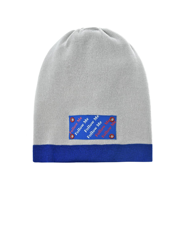 Купить Серая шапка с нашивкой Follow me Il Trenino детская, Нет цвета, 100%хлопок