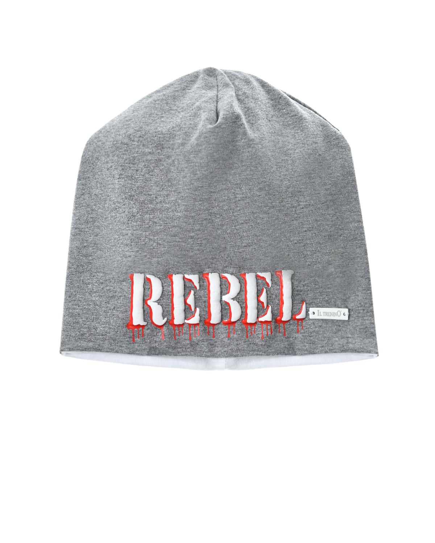 Купить Серая шапка с принтом REBEL Il Trenino детская, Нет цвета, 95%хлопок+5%эластан