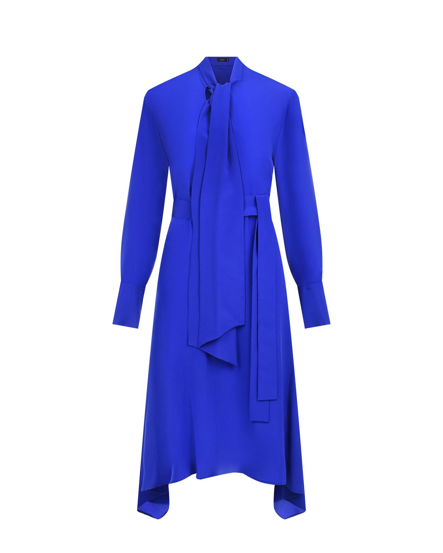 Синее шелковое платье с воротником-аскот Joseph фото