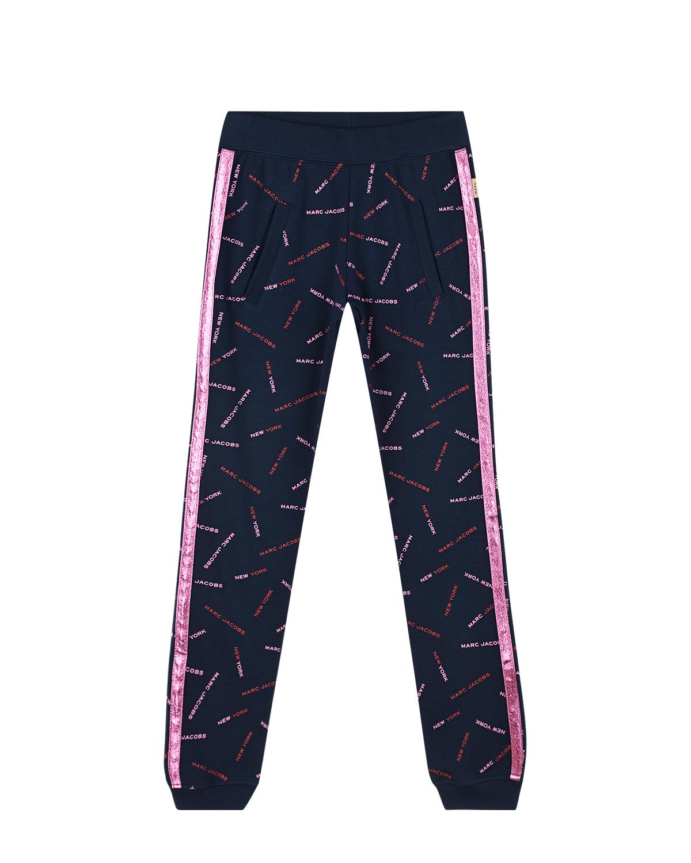 Купить Черные спортивные брюки с розовыми лампасами Little Marc Jacobs детские