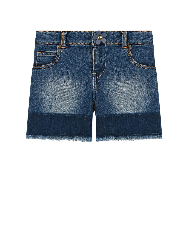 Купить Синие джинсовые шорты с бахромой Little Marc Jacobs детские, Синий, 98%хлопок+2%эластан, 100%хлопок