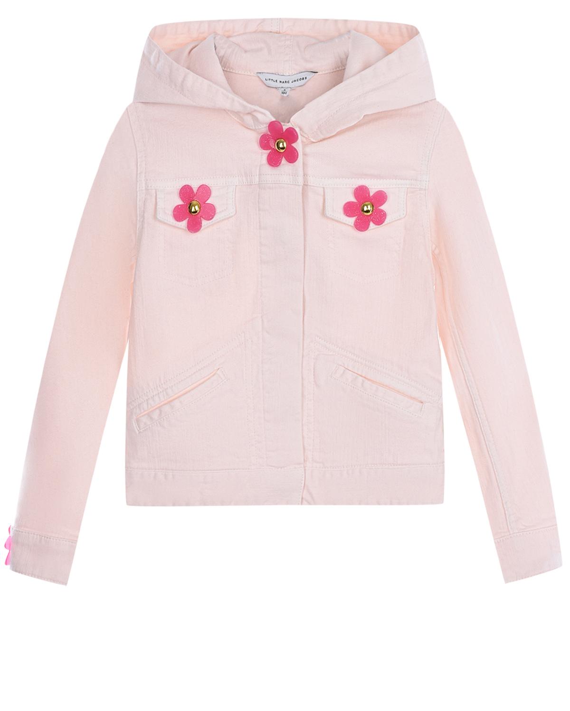 Розовая джинсовая куртка с капюшоном Little Marc Jacobs детская фото