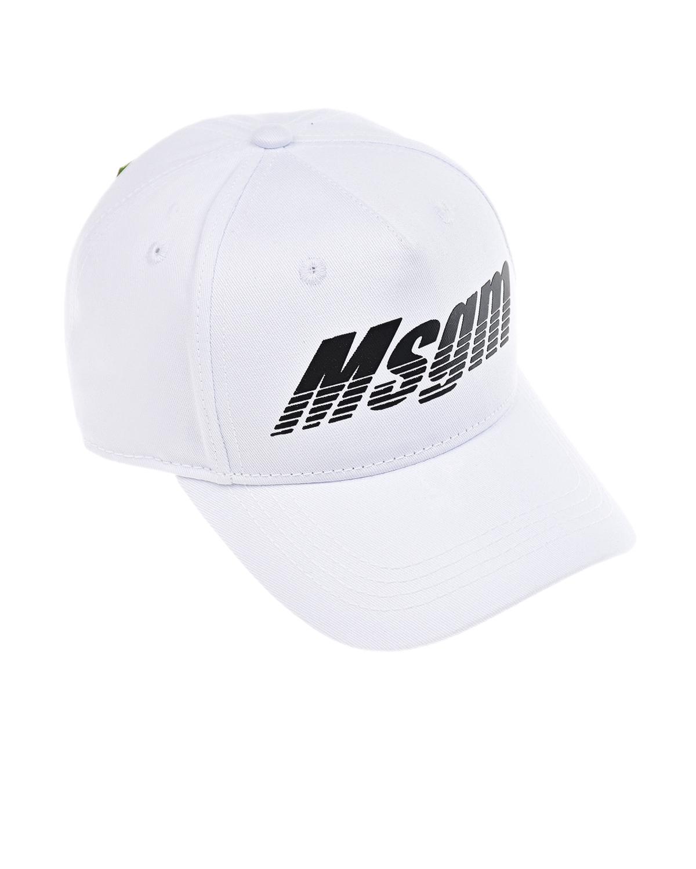 Купить Белая бейсболка с черным логотипом MSGM детская, Белый, 100%хлопок
