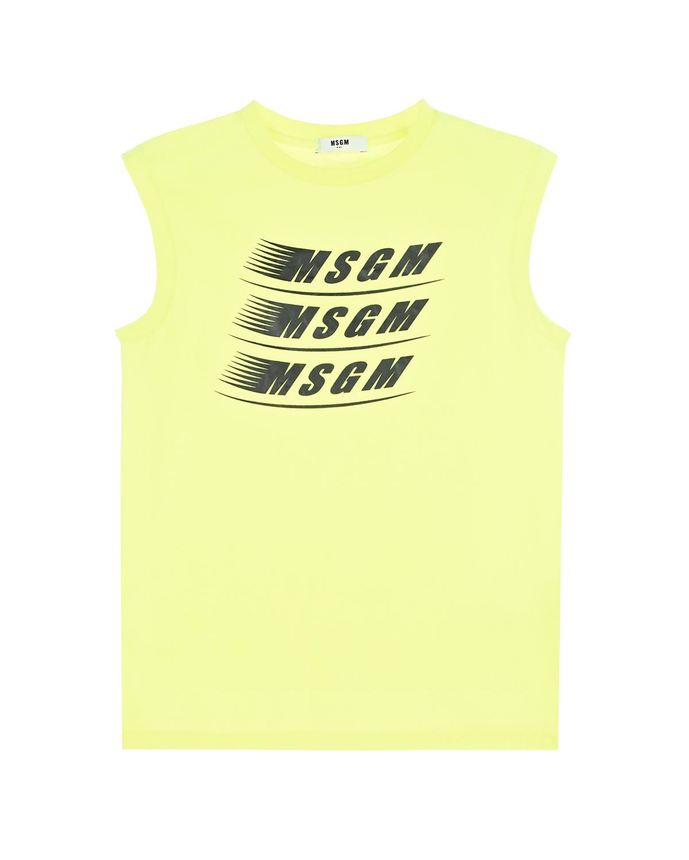 Купить Желтая майка с логотипом MSGM детская, Желтый, 50%хлопок+50%полиэстер