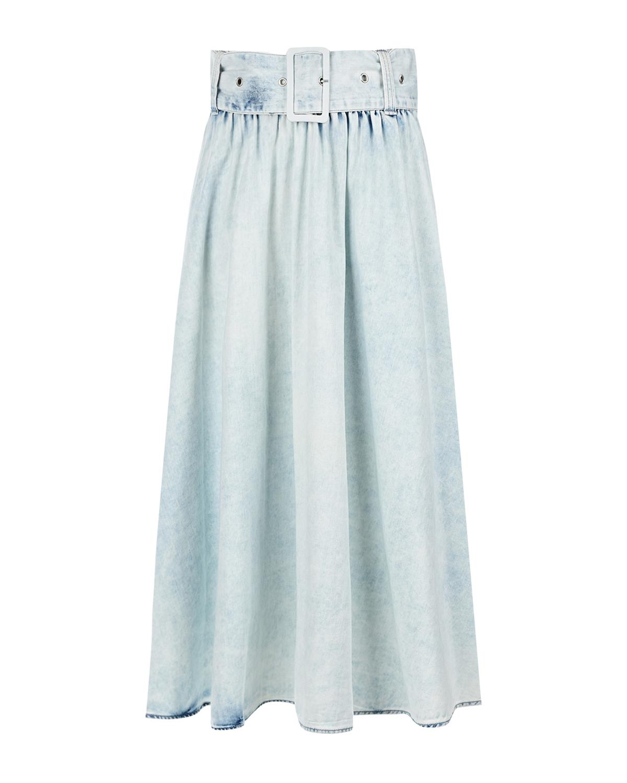 Купить Голубая джинсовая юбка с поясом MSGM