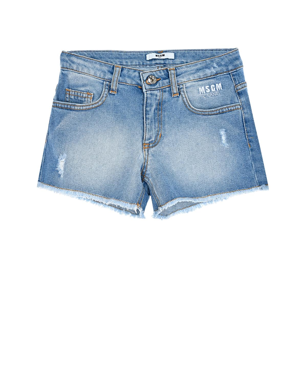 Купить Голубые джинсовые шорты с бахромой MSGM детские, Голубой, 98%хлопок+2%эластан