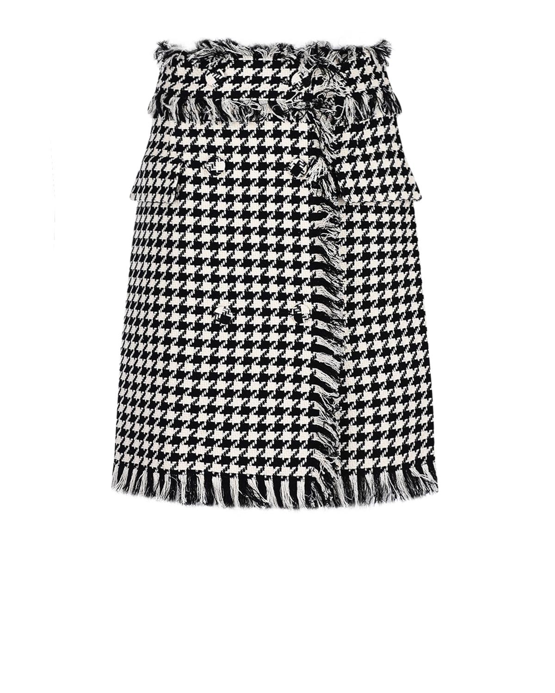 Твидовая юбка в клетку с бахромой MSGM фото