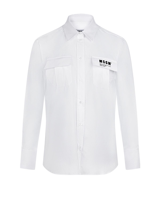 Белая рубашка с накладными карманами MSGM фото