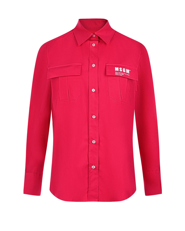 Рубашка цвета фуксии с накладными карманами MSGM фото