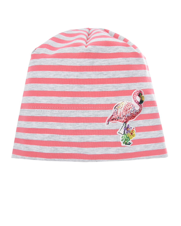 Шапка в розово-серую полоску MaxiMo детская фото