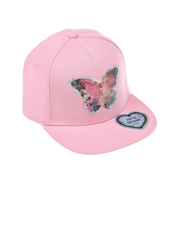 Купить Розовая бейсболка с бабочкой MaxiMo детская, Розовый, 87%хлопок+13%полиэстер