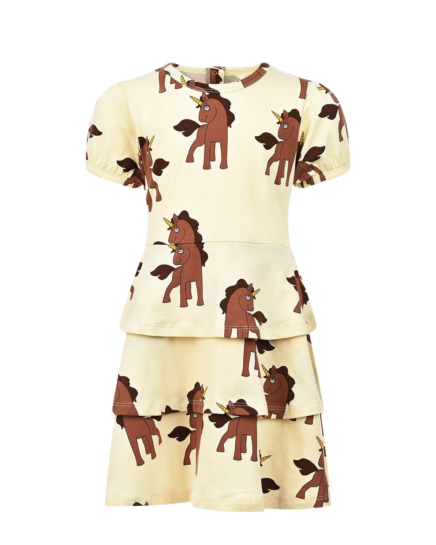 Купить Трикотажное платье с принтом Единороги Mini Rodini детское, Белый, 95%хлопок+5%эластан
