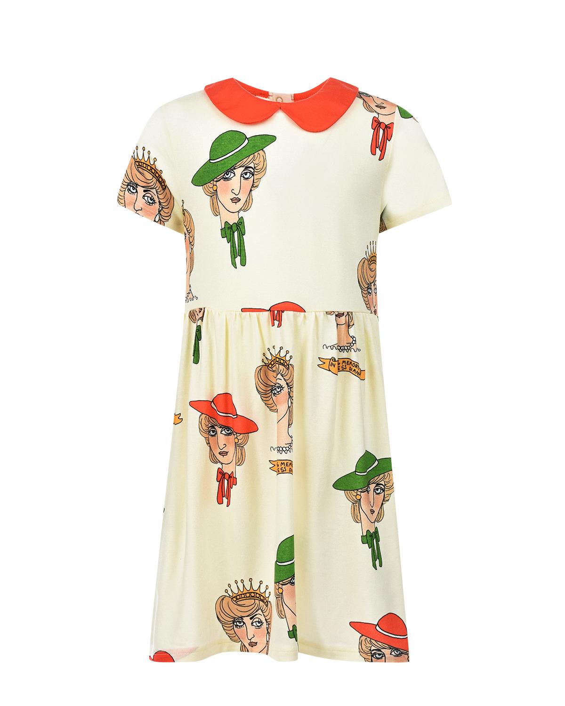 Кремовое платье из трикотажа с принтом Mini Rodini детское фото