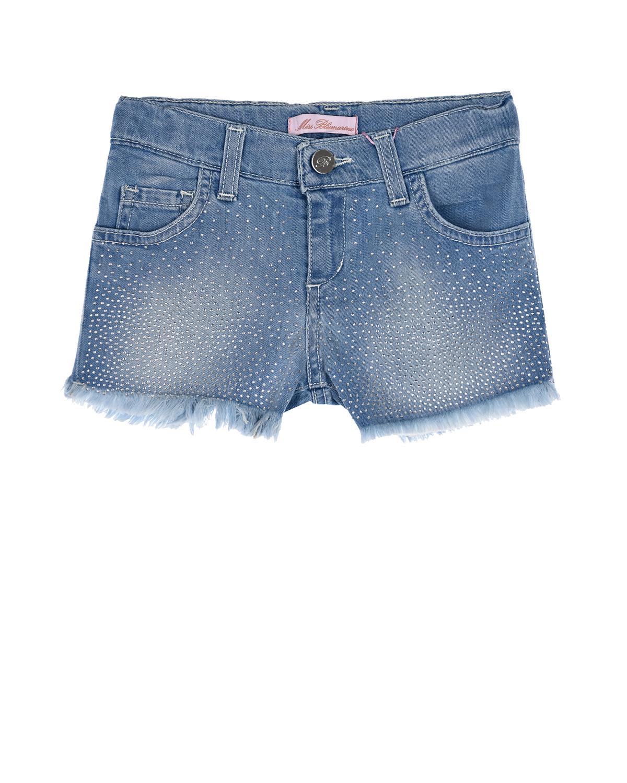 Купить Джинсовые шорты со стразами Miss Blumarine детские, Голубой, 98%хлопок+2%эластан