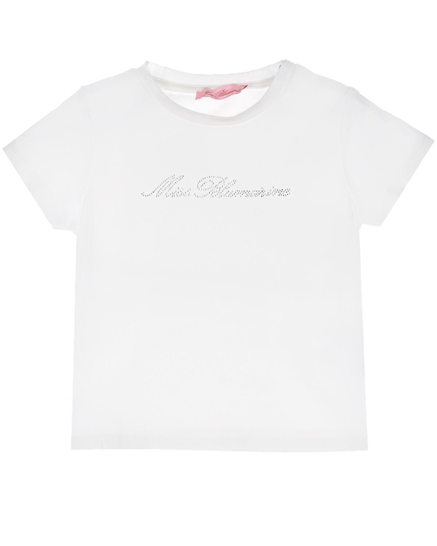 Белая футболка со стразами Miss Blumarine детская фото
