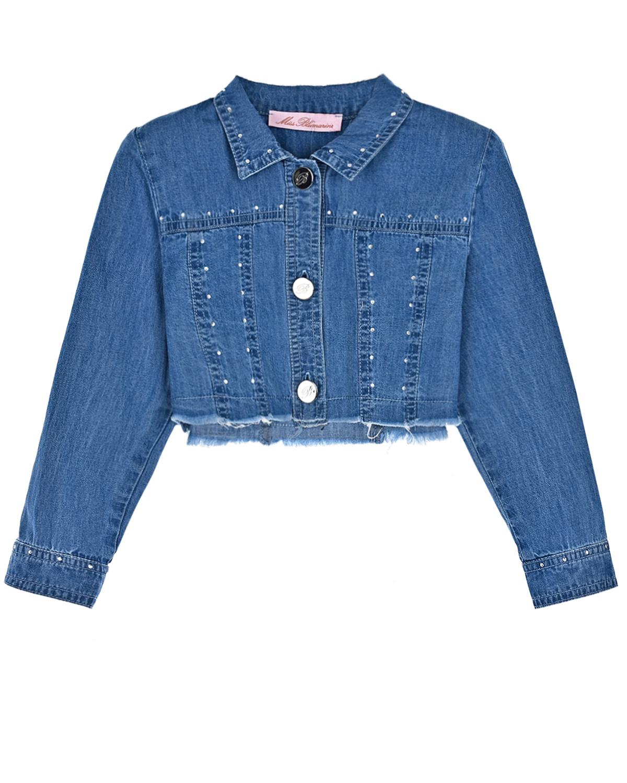 Укороченная джинсовая куртка с отделкой стразами Miss Blumarine детская фото