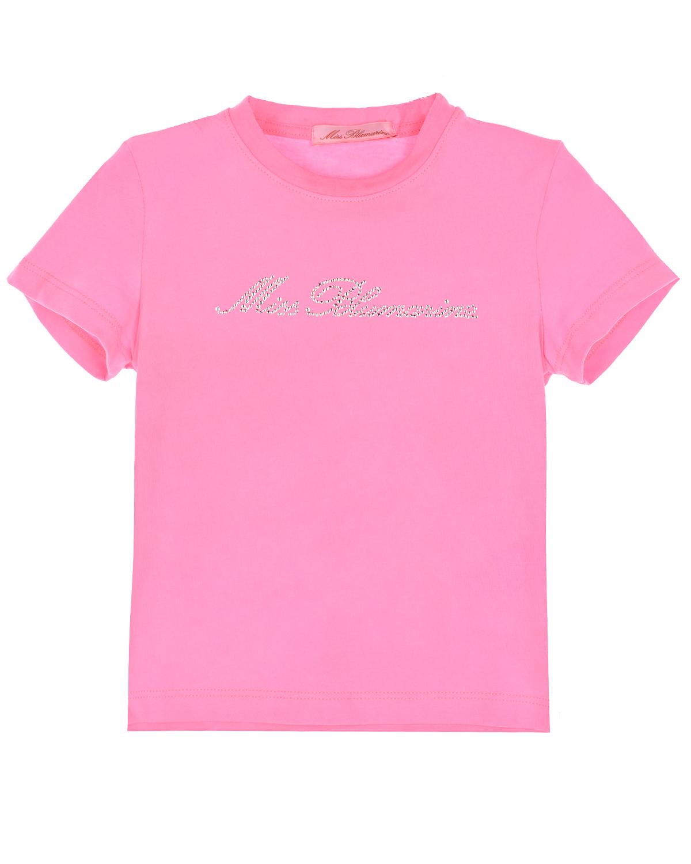 Розовая футболка со стразами Miss Blumarine детская фото