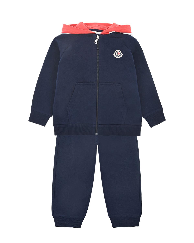 Купить Синий спортивный костюм из трикотажа Moncler детский, 95%хлопок+5%эластан, 100%хлопок