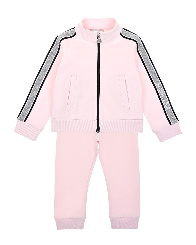 Купить Розовый спортивный костюм с серебристыми лампасами Moncler детский, 98%хлопок+2%эластан
