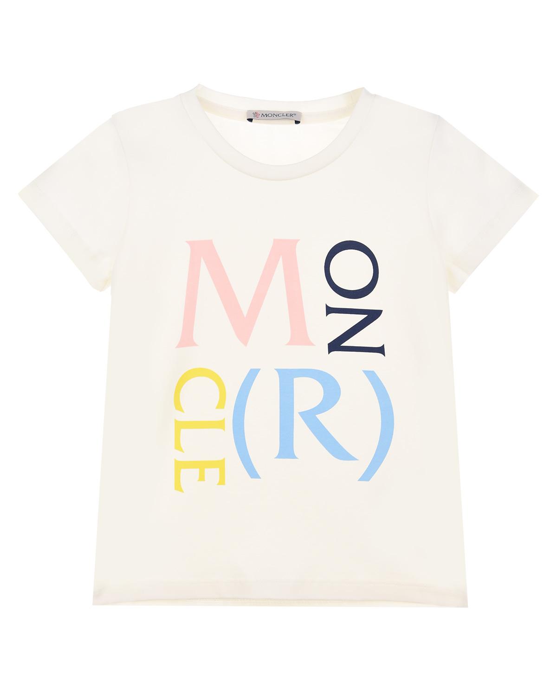 Купить Белая футболка с разноцветным логотипом Moncler детская, Белый, 91%хлопок+9%эластан