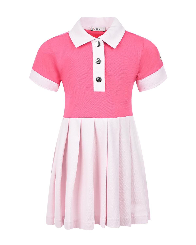 Купить Розовое платье с юбкой пудрового цвета Moncler детское, Розовый, 95%хлопок+5%эластан
