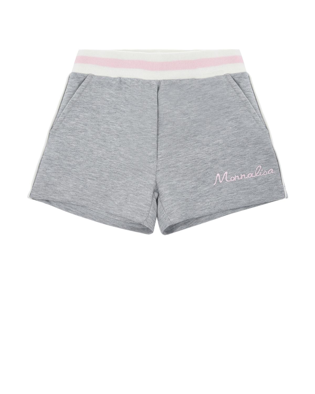 Трикотажные шорты с бело-розовой резинкой Monnalisa детские фото