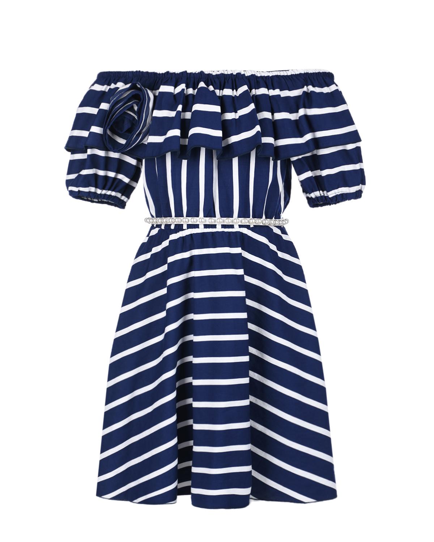 Купить Платье в сине-белую полоску с воланом Monnalisa детское, Мультиколор, 88%вискоза+12%полиэстер