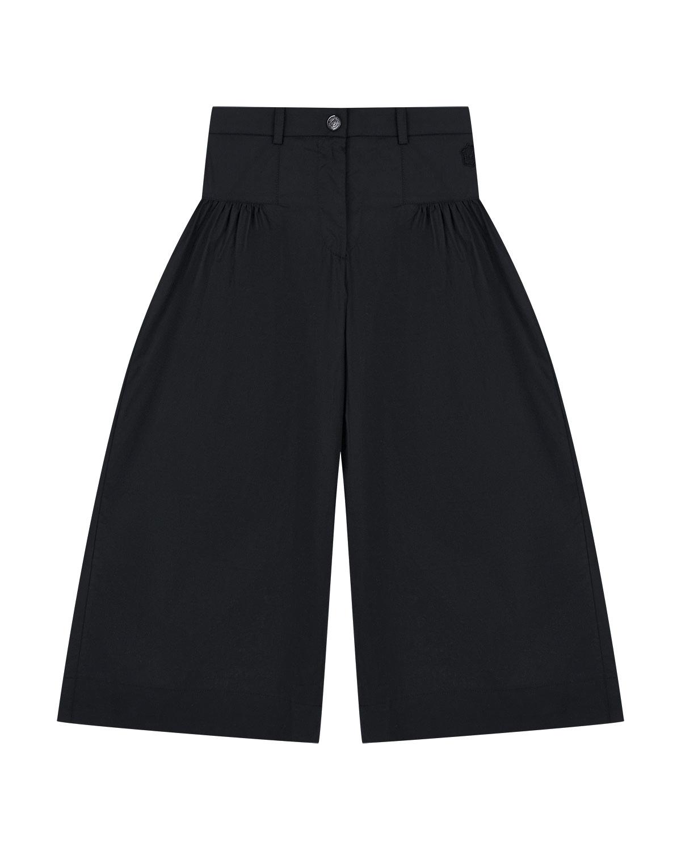 Купить Черные брюки со стразами Monnalisa детские, Черный, 100%хлопок