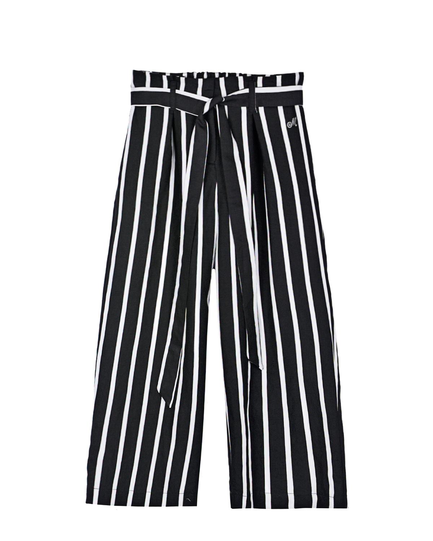 Купить Широкие брюки в черно-белую полоску Monnalisa детские, Мультиколор, 88%вискоза+12%полиэстер, 100%хлопок