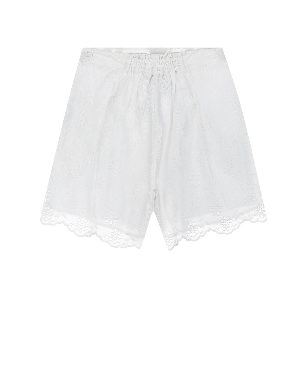 Белые шорты с кружевом на подоле Monnalisa детские фото