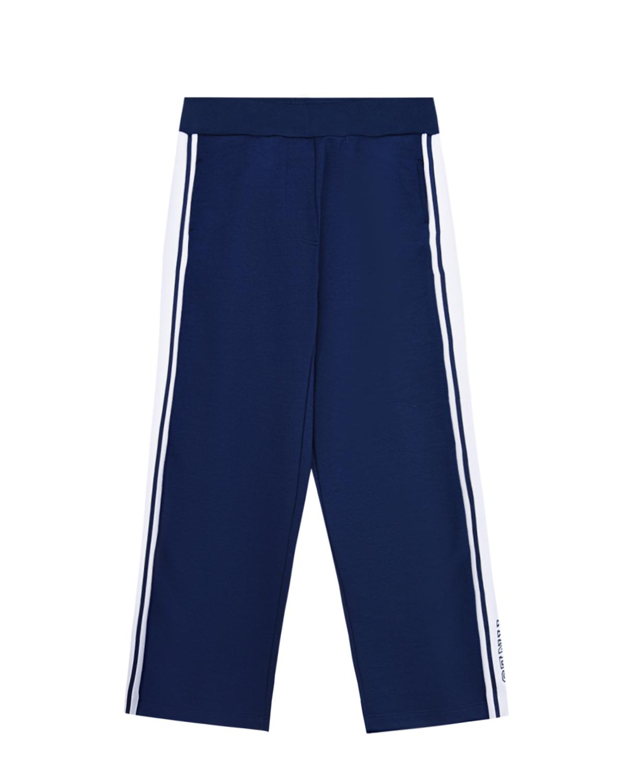 Фото #1: Синие спортивные брюки с лампасами Monnalisa детские