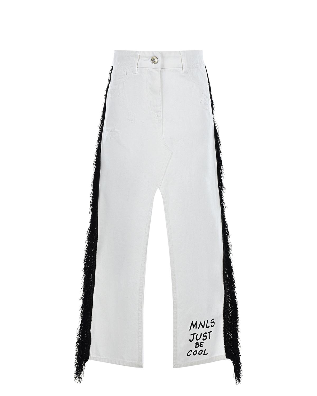 Купить Белая юбка с разрезами сзади и спереди Monnalisa детская, Белый, 100% хлопок