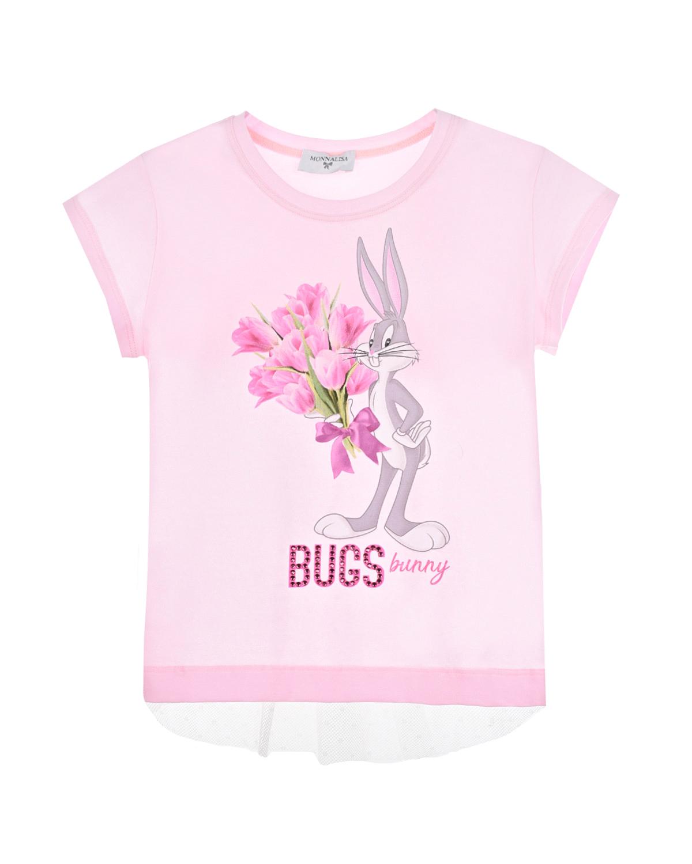 Купить Футболка с принтом Bugs bunny Monnalisa детская, Розовый, 95%хлопок+5%эластан, 55%хлопок+45%полиамид