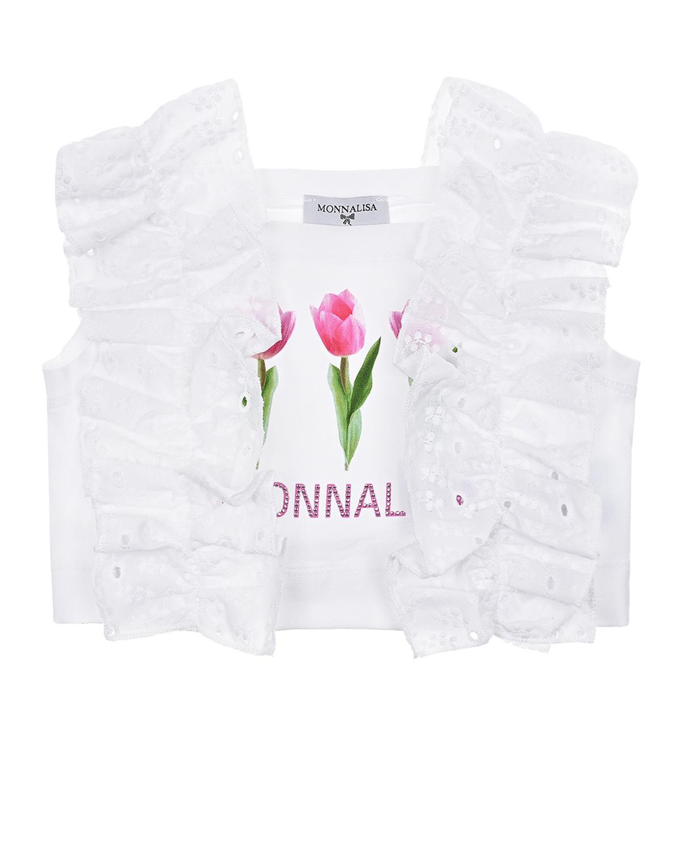 Купить Белый топ с принтом Тюльпаны Monnalisa детский, 95%хлопок+5%эластан, 100%хлопок