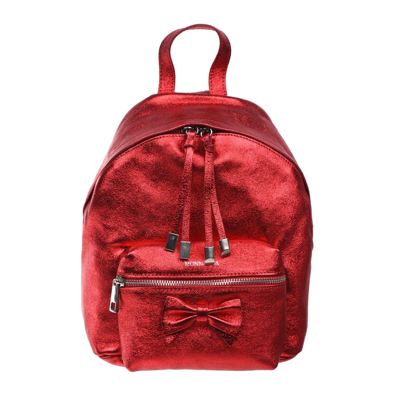 Красный кожаный рюкзак 26х23х10 см Monnalisa детский фото
