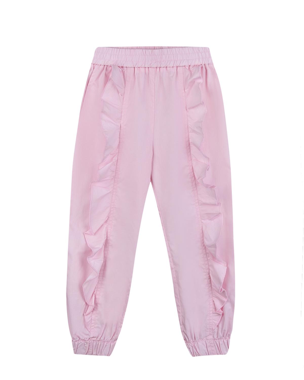Розовые брюки с оборками Monnalisa детские фото