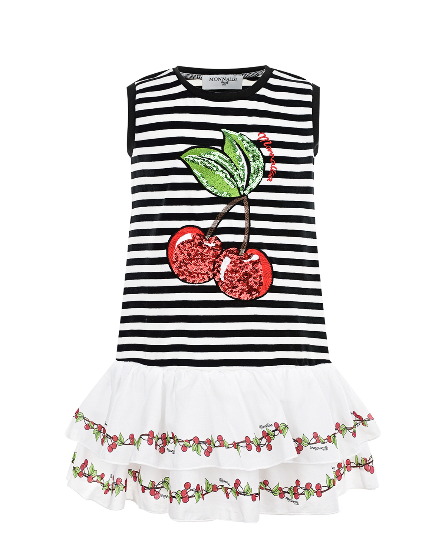 Купить Платье с вишнями из пайеток Monnalisa детское, Мультиколор, 94%хлопок+6%эластан, 100%хлопок