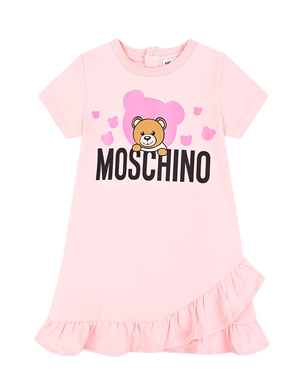 Купить Розовое платье с оборкой Moschino детское, Розовый, 95%хлопок+5%эластан