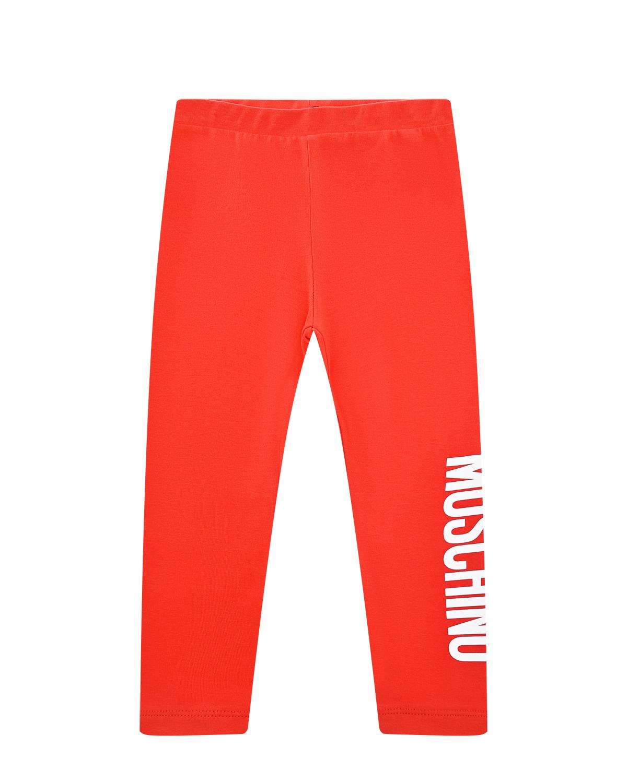Купить Красные леггинсы с логотипом Moschino детские, Красный, 95%хлопок+5%эластан