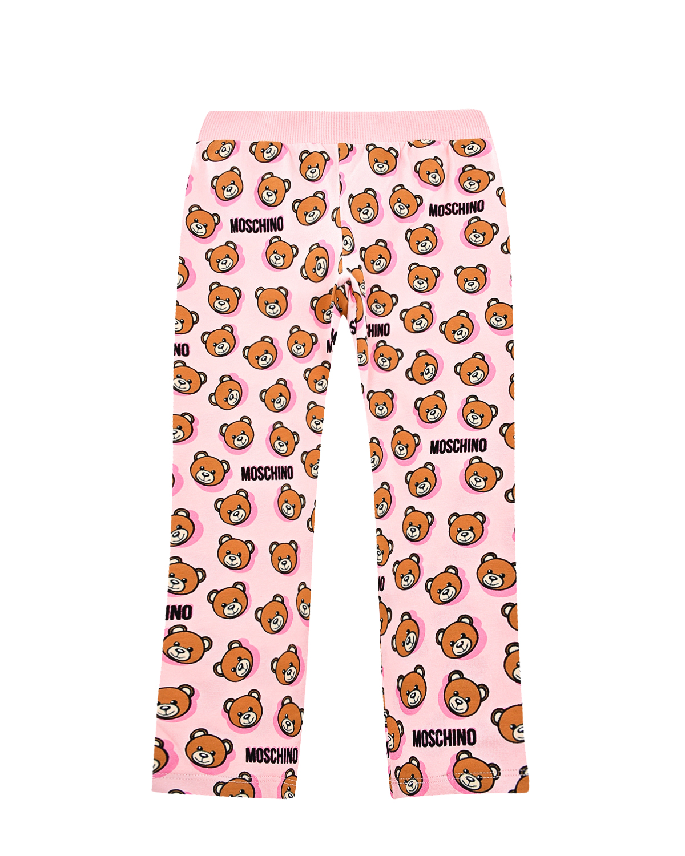 """Розовые спортивные брюки с принтом """"медвежата"""" Moschino детские фото"""
